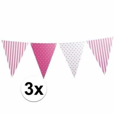 3x roze feest vlaggenlijn met stippen