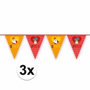 3x sint en piet vlaggenlijnen voor buiten