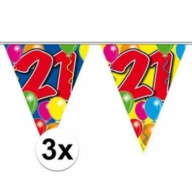 3x slingers 21 jaar vlaggenlijn 10 meter