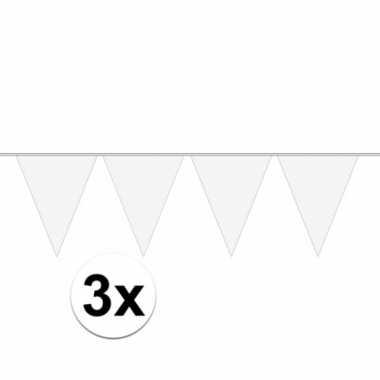 3x stuks 10 meter lange witte vlaggenlijn