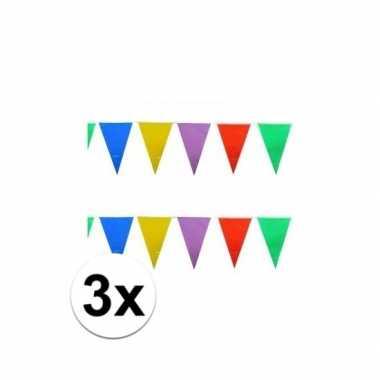 3x stuks gekleurde plastic vlaggetjes 10 meter