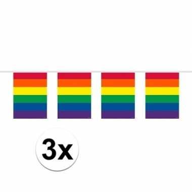 3x stuks slingers in regenboog kleuren 10 meter