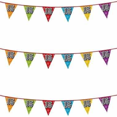 3x stuks vlaggenlijnen glitters 15 jaar thema feestartikelen