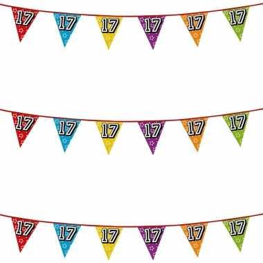 3x stuks vlaggenlijnen glitters 17 jaar thema feestartikelen