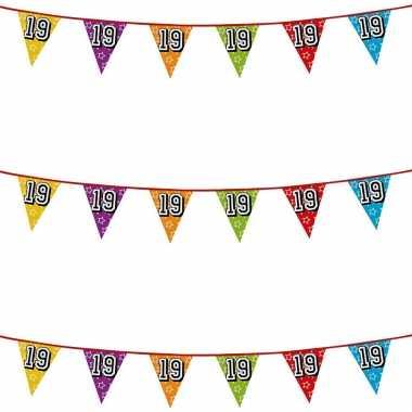 3x stuks vlaggenlijnen glitters 19 jaar thema feestartikelen