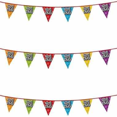 3x stuks vlaggenlijnen glitters 21 jaar thema feestartikelen