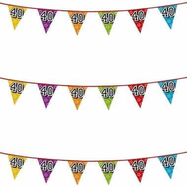 3x stuks vlaggenlijnen glitters 40 jaar thema feestartikelen