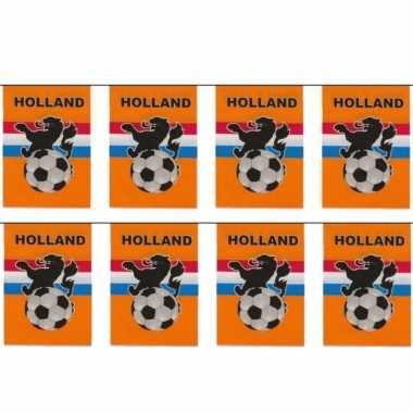 3x stuks vlaggenlijnen/vlaggetjes oranje holland voetbal thema 10 meter