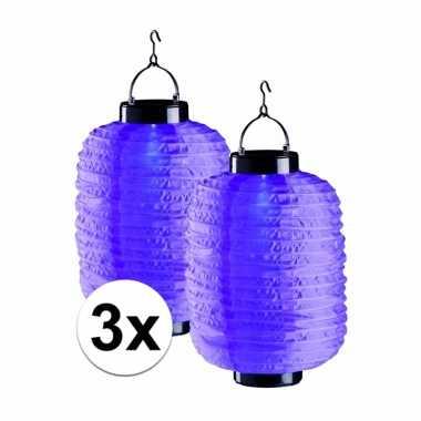 3x tuin / balkon lampionnen op zonne energie paars
