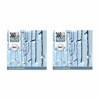 3x verpakkingen ijspegel led lichtjes wit 12 meter buitenverlichting