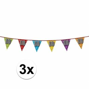 3x vlaggetjes 10 jaar feestje