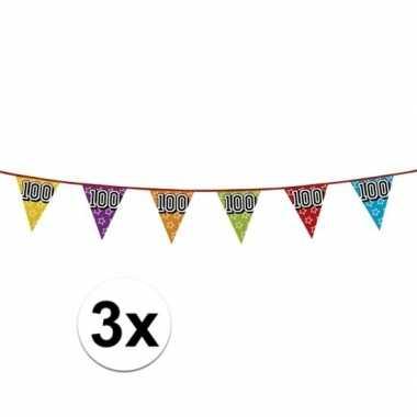 3x vlaggetjes 100 jaar feestje