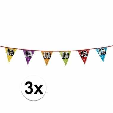 3x vlaggetjes 13 jaar feestje
