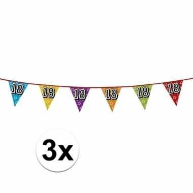 3x vlaggetjes 18 jaar feestje