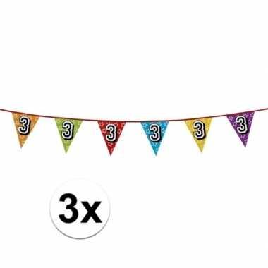 3x vlaggetjes 3 jaar feestje