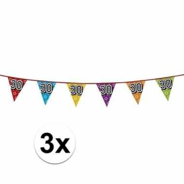 3x vlaggetjes 30 jaar feestje