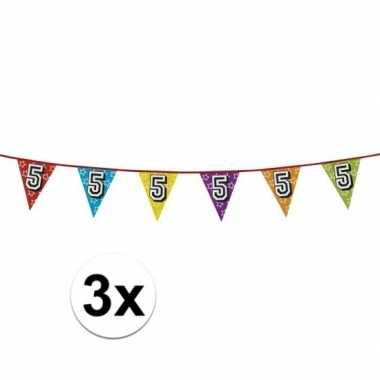 3x vlaggetjes 5 jaar feestje