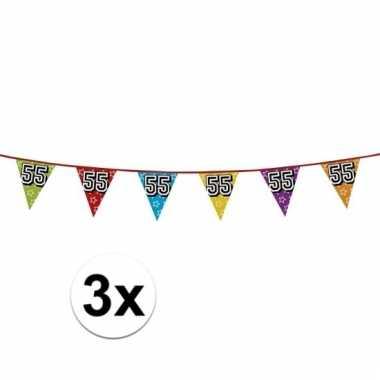 3x vlaggetjes 55 jaar feestje