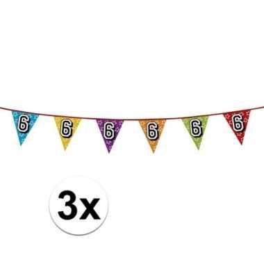 3x vlaggetjes 6 jaar feestje