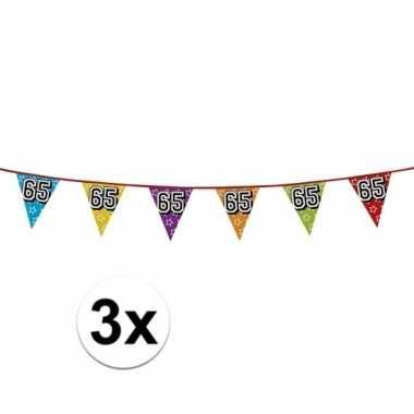 3x vlaggetjes 65 jaar feestje
