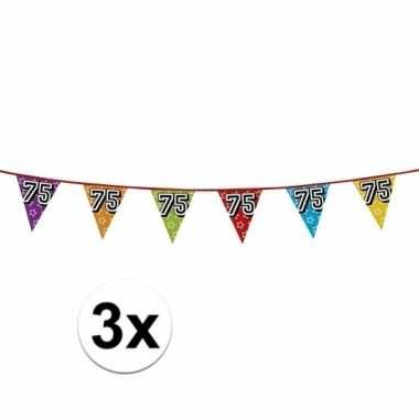 3x vlaggetjes 75 jaar feestje
