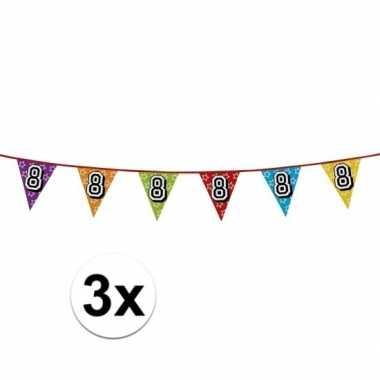 3x vlaggetjes 8 jaar feestje