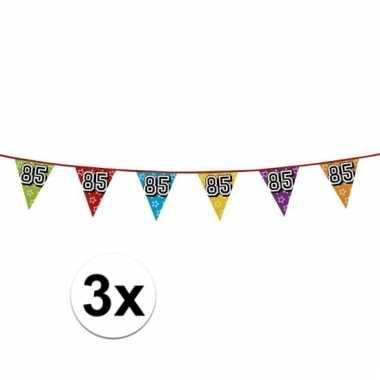 3x vlaggetjes 85 jaar feestje