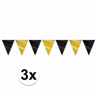 3x zwart met gouden slingers 360 cm