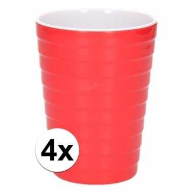 4 onbreekbare drinkbekers rood 300 ml