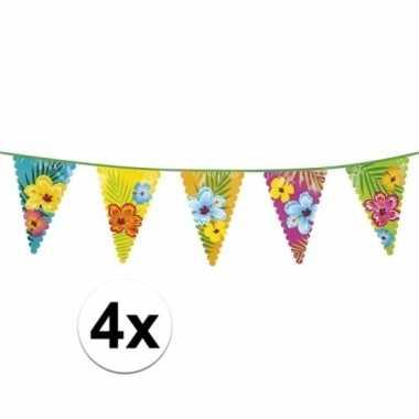 4x bloemen vlaggenlijnen 6 meter