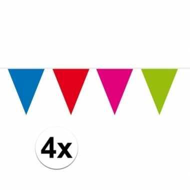 4x gekleurde vlaggenlijn xxl 10 meter