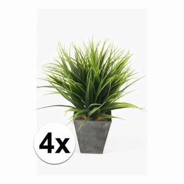 4x gras nep kunstplanten in zwarte pot 30 cm