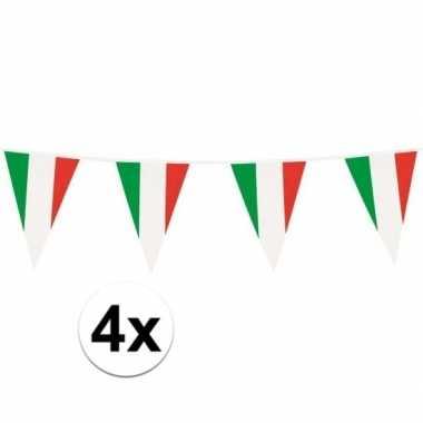 4x italiaanse plastic vlaggetjes