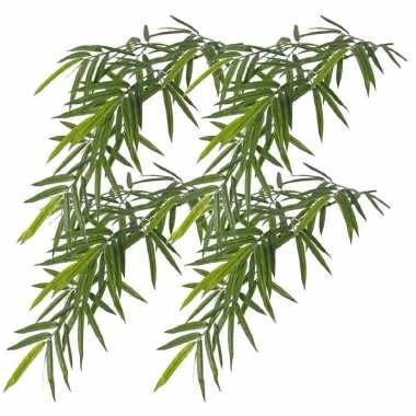 4x namaak bamboe kunstplanten tak groen 82 cm voor buiten/outdoor