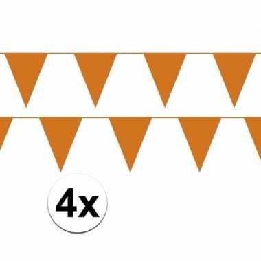 4x oranje vlaggenlijnen van plastic