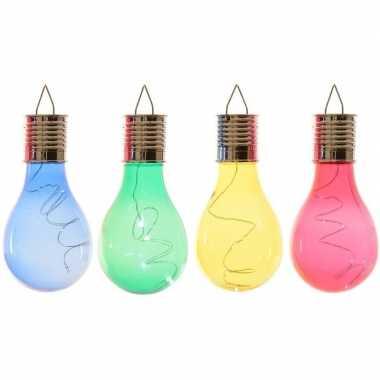 4x solarlamp lampbolletjes/peertjes op zonne-energie 14 cm blauw/groen/geel/rood