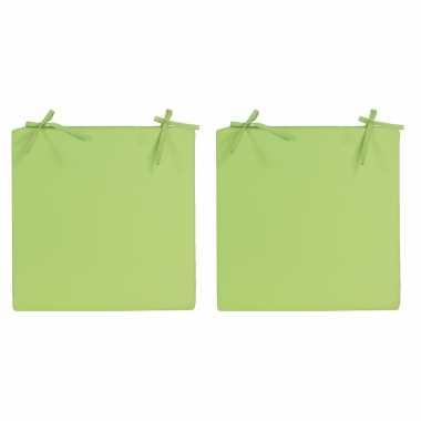 4x stoelkussens voor binnen en buiten in de kleur groen 40 x 40 cm tuinkussens voor buitenstoelen.