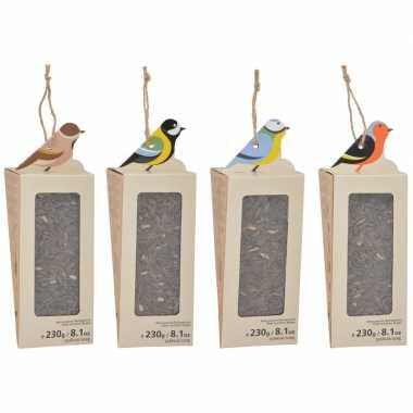 4x vogelhuisjes zonnebloempitten voer voor vogels