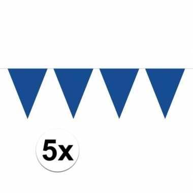 5 stuks groot formaat blauwe slingers