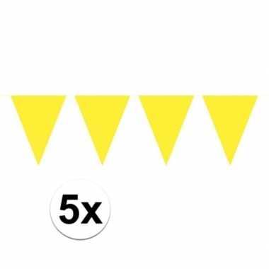 5 stuks groot formaat gele slingers