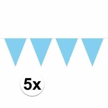 5 stuks groot formaat lichtblauwe slingers
