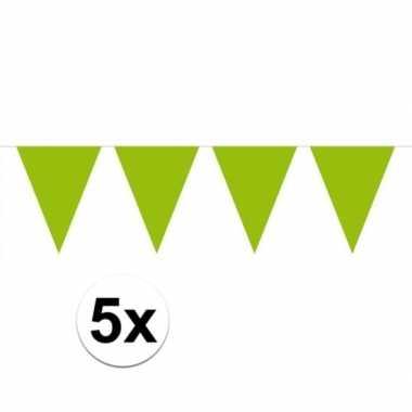 5 stuks groot formaat limegroene slingers