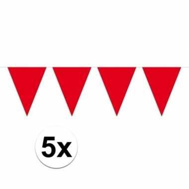 5 stuks groot formaat rode slingers