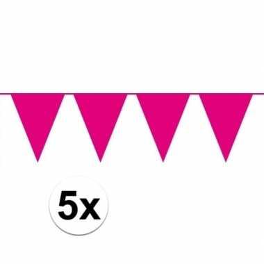5 stuks groot formaat roze slingers