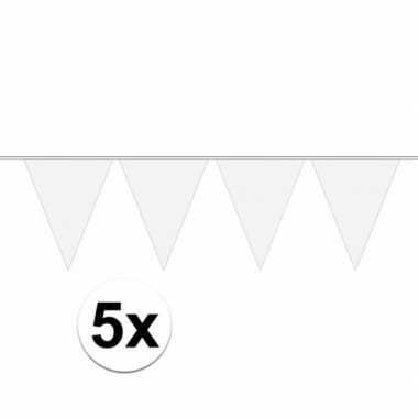 5 stuks groot formaat witte slingers