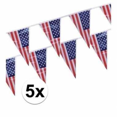5x amerikaanse/usa vlaggenlijnen van 4 meter