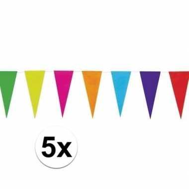 5x gekleurde uni vlaggenlijn 10 meter