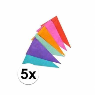 5x gekleurde vlaggenlijn 10 meter