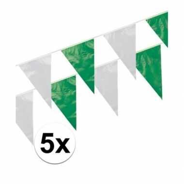5x groen/witte vlaggenlijntjes 10 m