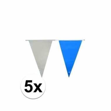 5x lichtblauw/witte vlaggetjes